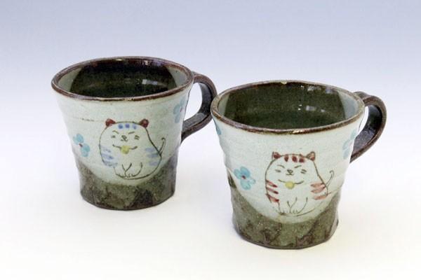 マグカップ 花猫(青)と(紅)