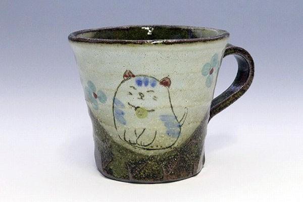 マグカップ 花猫(青) 正面