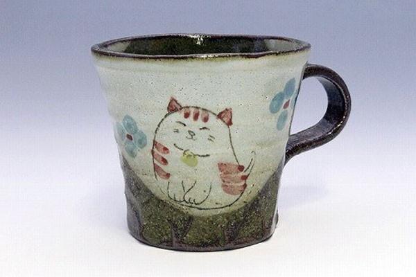 マグカップ 花猫(紅) 正面