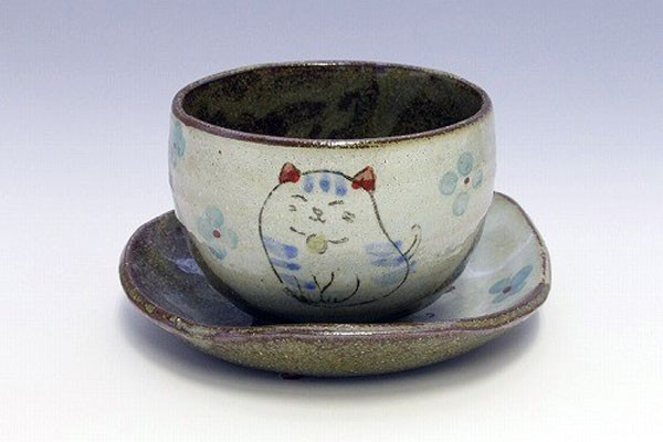 陶碗皿 花猫(青) 正面