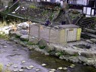 三朝温泉の河原風呂、ラドン温泉なのに露天風呂