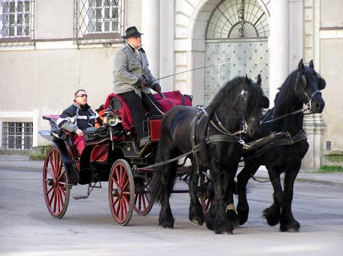 ザルツブルグ旧市街を行く馬車