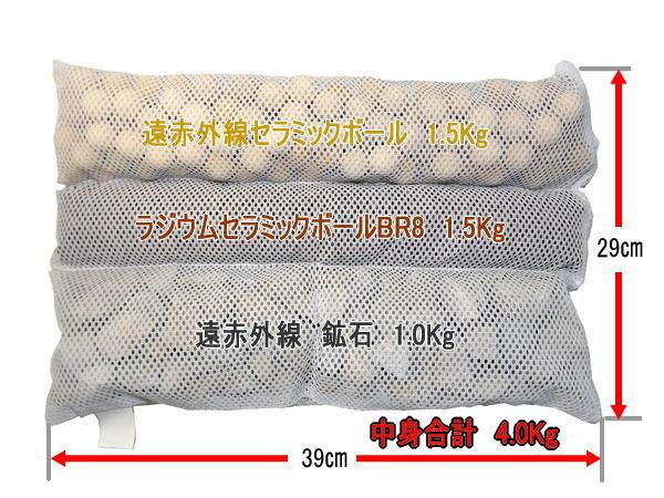サイトカイン温浴用3段ネット袋の使用例。 遠赤外線セラミックボールとラジウムセラミックボール